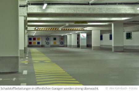 In großen Garagen wie dieser kommt es schnell zu einer Ansammlung verschiedener Schadstoffe in der Luft.