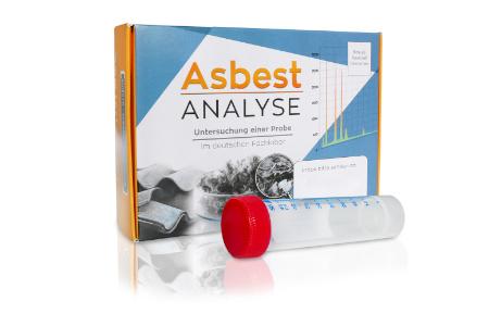 So sehen das Röhrchen zur Probenahme und das Test-Kit für den Asbest Test aus.
